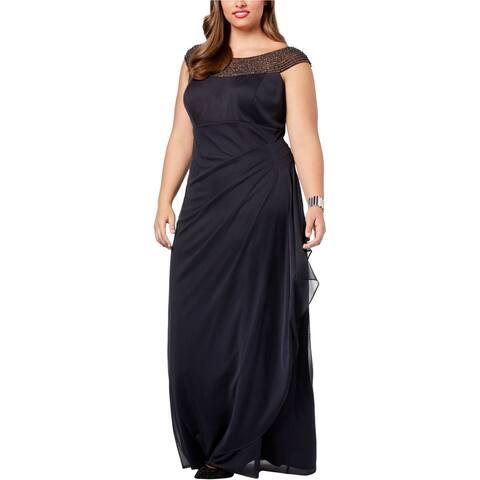 XSCAPE Womens Embellished Bateau Neck Prom Dress, Black, 16W