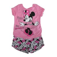 16ec3575f0 Disney Little Girls Pink Minnie Mouse T-Shirt Print 2 Pc Shorts Outfit