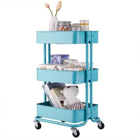 3-Tier Home Kitchen Storage Utility cart-White / Black /Turquoise