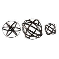 "Set of 3 Dark Bronze Geometric Stetson Sphere Table Top Decorations 7""-9""-12"""