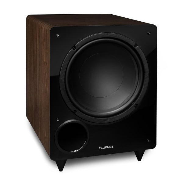 Fluance DB10W 10-inch Low Frequency Ported Front Firing Powered Subwoofer for Home Theater & Music (Natural Walnut)