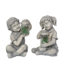 """Set of 2 Distressed Gray Boy and Girl with Fireflies Outdoor Garden Statues 12"""""""