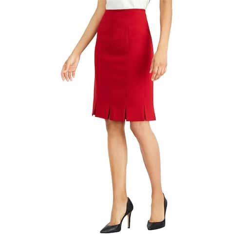 Kasper Womens Solid Pleated Skirt
