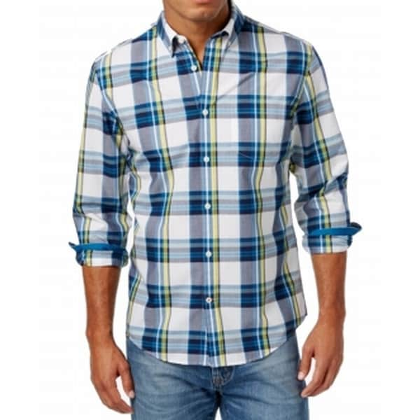 171f9dc5 Shop Tommy Hilfiger NEW Blue White Mens Size XL Button Down Plaid Shirt -  Free Shipping On Orders Over $45 - Overstock - 19449868
