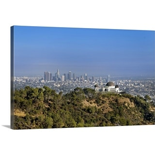 """A view from a hiking trail in Griffith Park of downtown Los Angeles."" Canvas Wall Art"