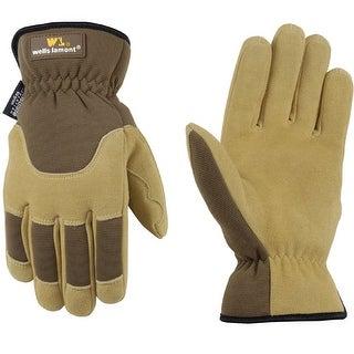 Wells Lamont Premium Suede Deerskin Work Gloves for Men-Lrg 1092L