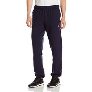 Champion Mens Powerblend Elastic Bottom Fleece Pant, Navy, L