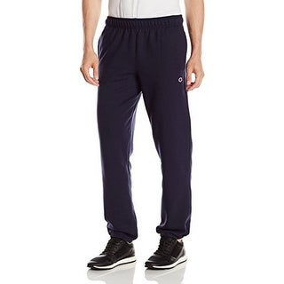 Champion Mens Powerblend Elastic Bottom Fleece Pant, Navy, S