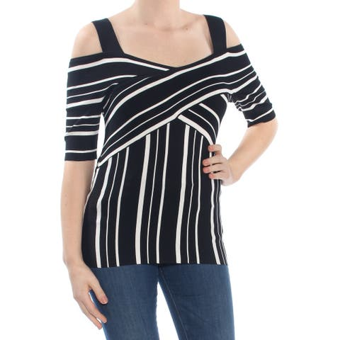 INC Womens Black Striped Short Sleeve Scoop Neck Sweater Size XL