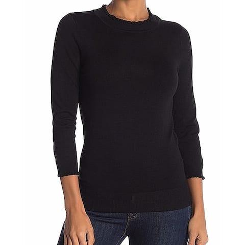 Max Studio Black Womens Size XL Crewneck Solid Wave Trim Sweater