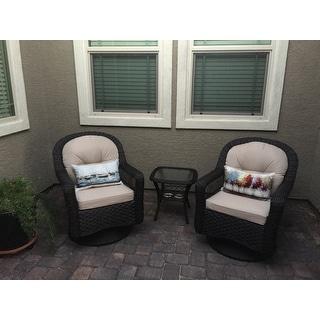Biloxi Outdoor Espresso Resin Wicker 3-Piece Swivel Glider Set with Beige Cushions