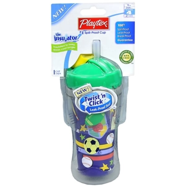 Playtex The Insulator Spill-Proof Cup With Straw 9-Ounce (colors may vary) 1 Each