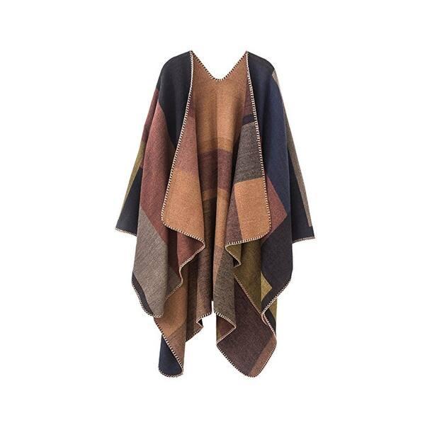 655cb6176 Shop Women's Color Block Shawl Wrap Open Front Poncho Cape - Free ...