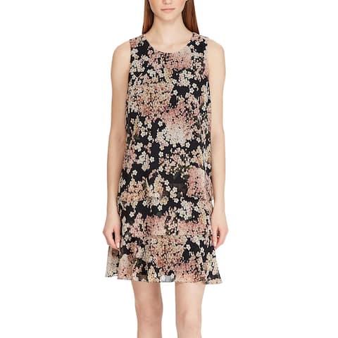 American Living By Ralph Lauren Womens Tiered Georgette Dress 12 Black Multi