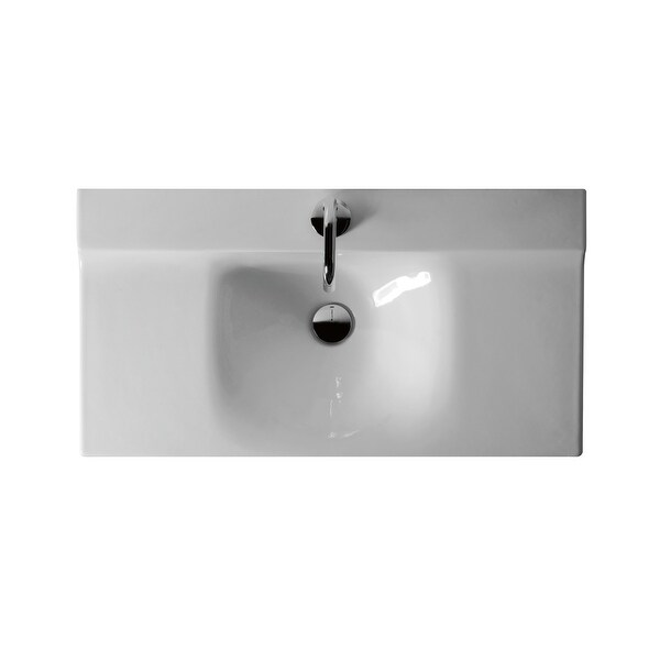 "WS Bath Collections Buddy 3403 Kerasan 31-1/2"" Ceramic Wall Mounted Bathroom Sink with 1 Hole Drilled and Overflow"
