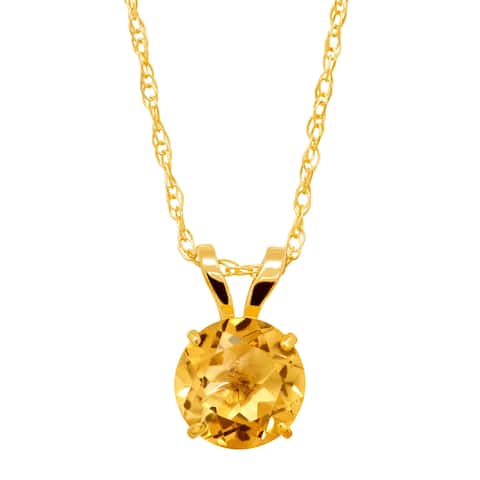 5/8 ct Round-Cut Natural Citrine Round-Cut Solitaire Pendant in 10K Gold - Yellow