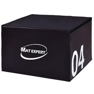 Gymax 24'' PVC Soft Foam Jumping Box Plyometric Exercise Black