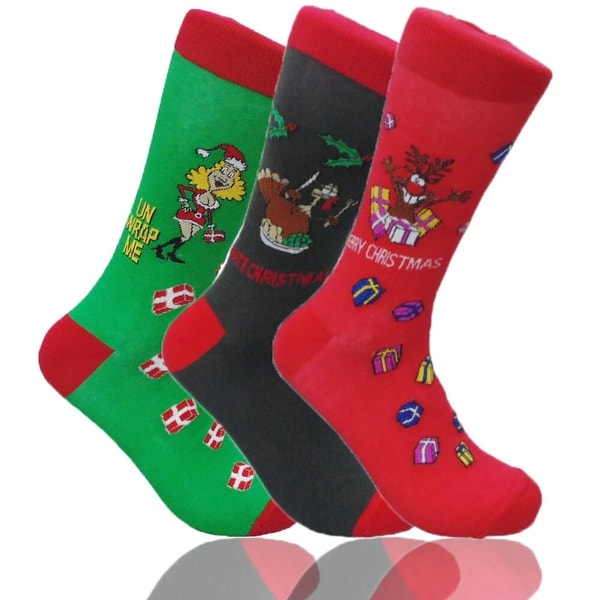 CHRISTMAS Mens Funny Colorful Novelty Crew Casual Patterned Socks 3 Pair Bundle
