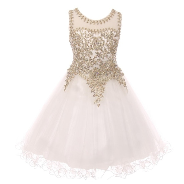 89c45e54d06b1 Girls White Gold Coiled Lace Studded Illusion Junior Bridesmaid Dress 16