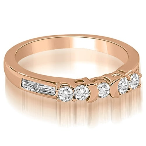 0.60 cttw. 14K Rose Gold Round and Baguette Diamond Wedding Band