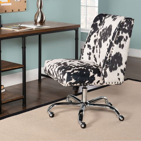 Linon Violet Cow Print Office Chair