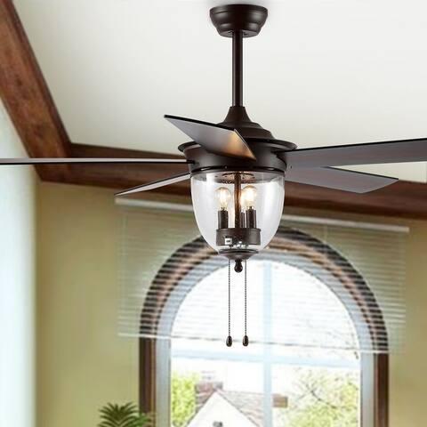 "Safavieh Lighting 52-inch Kelso LED Ceiling Light Fan - 52"" W x 52"" L x 25.375""-30.375"" H"