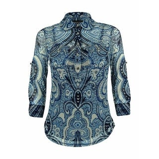 INC International Concepts Women's 3/4 Sleeve Mesh Top - Blue Paisley - pxs