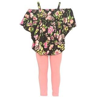 Girls Black Floral Print Off-Shoulder Top 2 Pc Legging Outfit