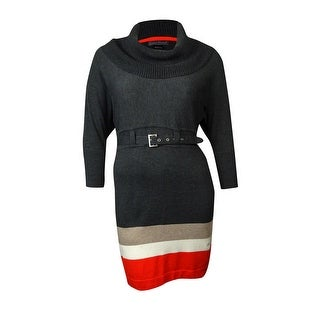 Jessica Howard Women's Belted Cowl Neck Colorblocked Sweater Dress - Multi