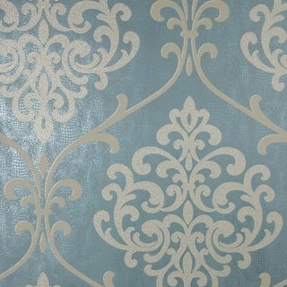 Brewster 2542-20715 Ambrosia Teal Glitter Damask Wallpaper