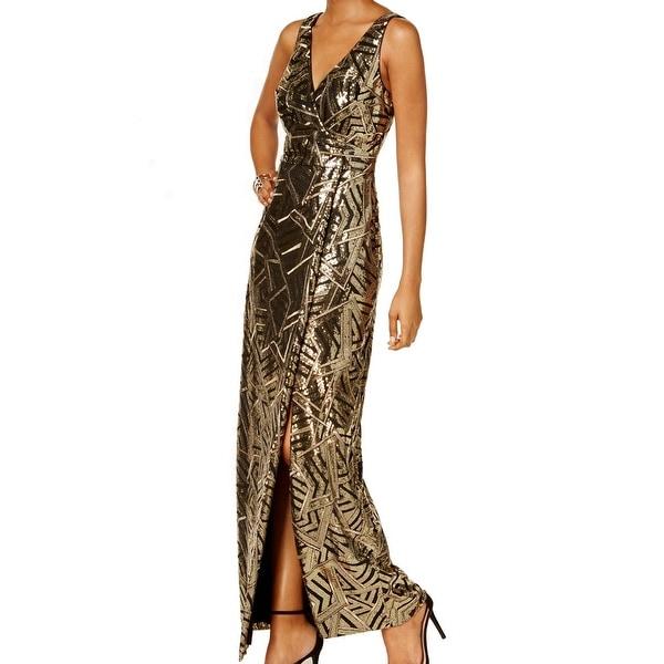 110db945 Shop Vince Camuto Women's Geo Sequin Surplice Gown Dress - Free ...