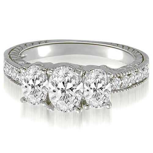 2.00 cttw. 14K White Gold Trellis 3-Stone Oval Round Diamond Engagement Ring