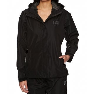 Helly Hansen NEW Black Womens Size Large L Full-Zip Hooded Rain Jacket