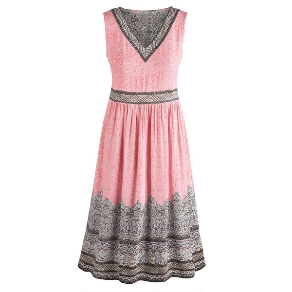 Women's Renee Border Print Dress - Pink V-Neck Sleeveless Ankle Length
