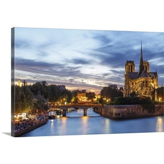 """""""Notre Dame  and Seine river"""" Canvas Wall Art"""