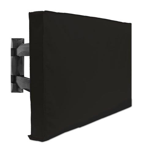 Outdoor TV Cover For Flat Screens - Weatherproof Television Protector - Black