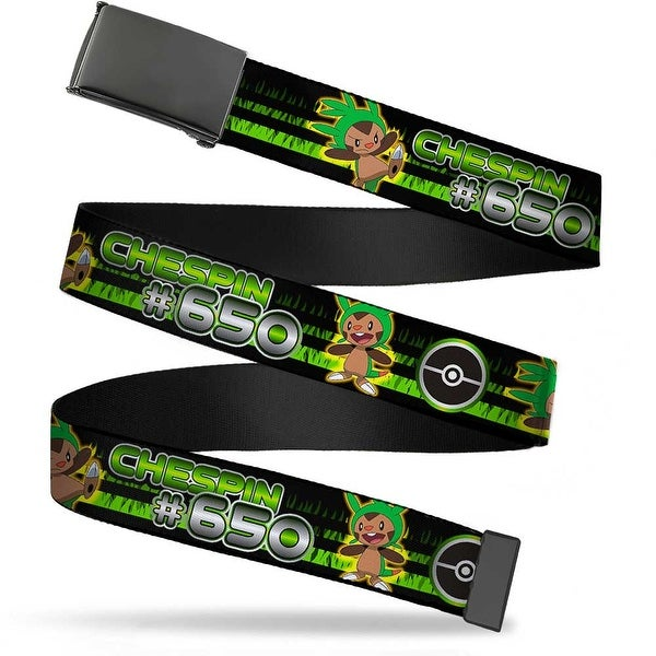 Blank Black Buckle Chespin #650 Poses Poke Ball Grass Stripe Black Web Belt