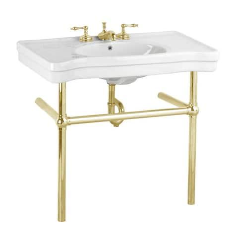White Bathroom Console Sink Belle Epoque China with Brass Bistro Legs