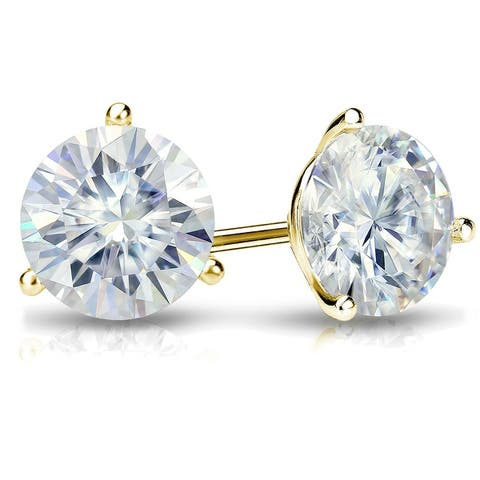 Auriya 1ctw Round Moissanite Stud Earrings 14k Gold Martini-set - 5 mm, Push-Backs - 5 mm, Push-Backs