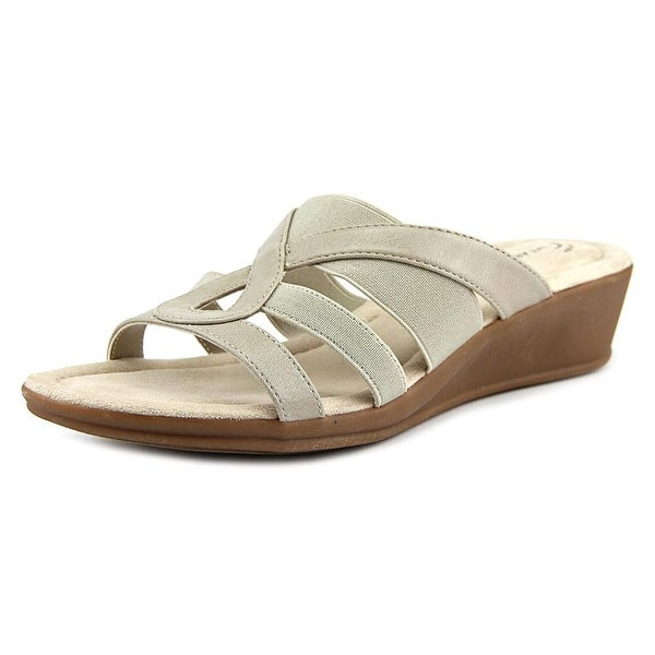 Wear.Ever. Winnie Women  Open Toe Canvas Tan Slides Sandal
