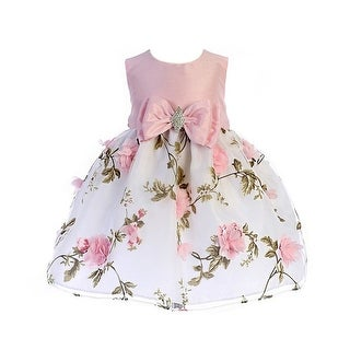 Crayon Kids Baby Girls Pink Floral Print Easter Flower Girl Dress