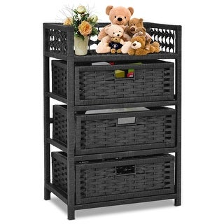 Gymax Storage Chest Tower Shelf 3 Drawer Wicker Baskets Storage Unit Black