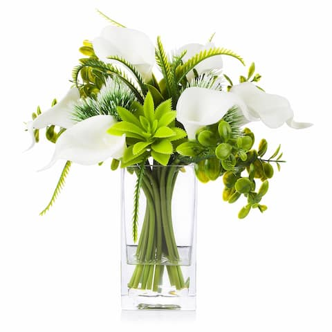 Enova Home Mixed Artificial Cream Real Touch Lily Fake Silk Flowers Arrangement in Clear Glass Vase for Home Office Decoration