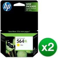 HP 564XL High Yield Yellow Original Ink Cartridge (CB325WN)(2-Pack)