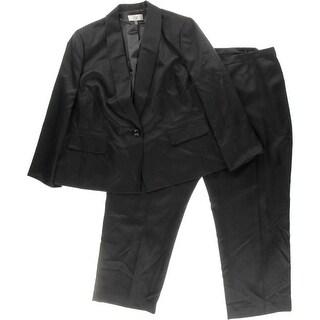 Le Suit Womens Plus Torino Crosshatch 2PC Pant Suit