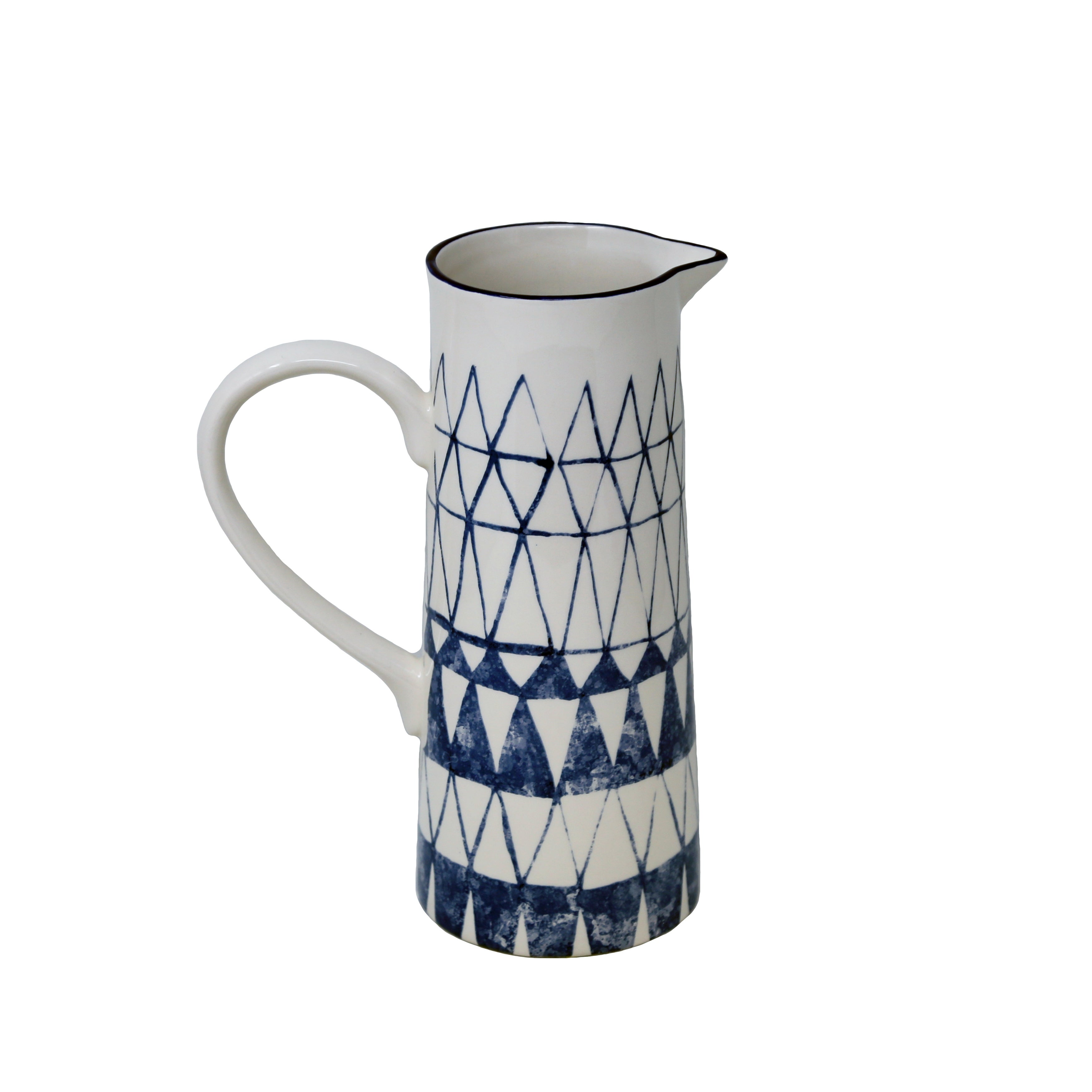 Ceramic Decorative Pitcher with Geometric Texture Surface and Small Handle, Small, White and Blue