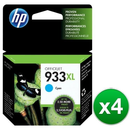 HP 933XL High Yield Cyan Original Ink Cartridge (CN054AN)(4-Pack)