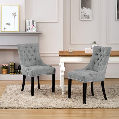 Grandview Tufted Upholstered Linen Fabric Dining Chair