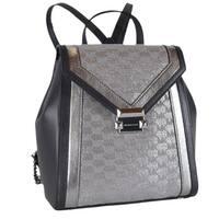 Michael Kors Whitney Metallic Silver Logo Jacquard Backpack Bag