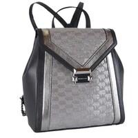 6a2bacd3f Michael Kors Whitney Metallic Silver Logo Jacquard Backpack Bag. Sale